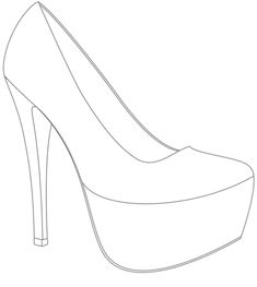 Best Professional Templates The extraordinary High Heel Drawing Template At Paintingvalley Converse Wedding Shoes, Wedge Wedding Shoes, Bride Shoes, Designer Wedding Shoes, Designer Shoes, Shoe Template, Drawing Templates, Drawing Ideas, Fashion Sketches