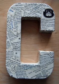 "Monogram - cover an ""H"" with pages from a book....or an old Bible"