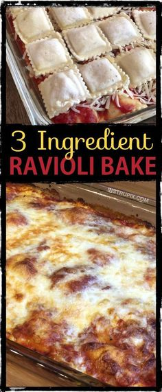 3 Ingredient Ravioli Bake (A. Lazy Lasagna) 3 Ingredient Ravioli Bake (A. Lazy Lasagna) On the lookout for simple dinner recipes for the household? This baked ravioli solely requires 3 co. Gourmet Recipes, Healthy Recipes, Cooking Recipes, Cooking Tv, Diet Recipes, Lasagna Recipes, Cooking Cake, Baby Recipes, Easy Fast Recipes