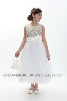 Girls Dress Style 1025- IVORY GOLD Sleeveless Tulle Dress with Sequin Adorned Bodice $69.99
