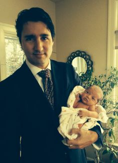 Justin spends time with adorable new son Hadrien. This is what family values look like.