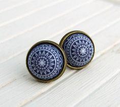 Navy Blue and White Mosaic Earrings .. mosaic by beadishdelight