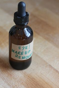Homemade Organic Eye Makeup Remover {recipe makes 3.5 ounces} ~ Ingredients: 4 TBLS Organic Extra Virgin Olive Oil and 3 TBLS Organic Almond Oil. Directions: Using a funnel, pour ingredients into a container of your choice.  Use a small amount on a tissue or cotton ball and wipe that makeup away! Read More: http://amy-newnostalgia.blogspot.com/2012/05/homemade-organic-eye-makeup-remover.html