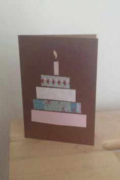 Handmade birthday card. Birthday cake made of washi tape.