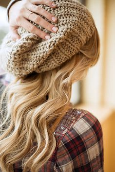 Love the loose knit beanie over beautiful hair with plaid.