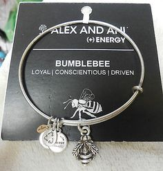 "AUTHENTIC  ALEX & ANI BRACELET ""BUMBLEBEE"" RUSSIAN SILVER NWT & CARD - http://designerjewelrygalleria.com/alex-ani/authentic-alex-ani-bracelet-bumblebee-russian-silver-nwt-card/"