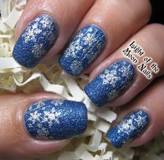 Winter Wonderland!!!  Silver snowflakes over a blue textured polish!!!