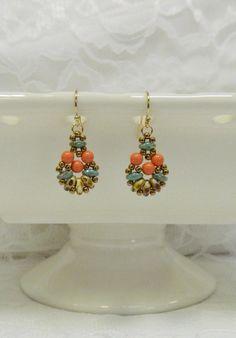 Orecchini Swarovski Perline SuperDuo, Swarovski Orecchini, orecchini di perle, orecchini a Clip, Leverback orecchini - sole, sabbia e mare orecchini