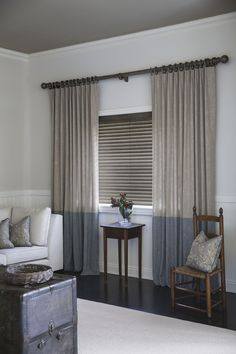 "Blinds: 2"" Cordless Wood Binds in Vintage/Ashen 16323 Drapery: Single Pleat Drapery in Color Block 16399 Sloane/Nickel and 16393 Sloane/Lapis #Windowtreatments #Curtains #Blinds"