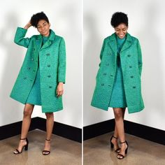 018df011709 Vintage 60s Mod Teal Green Print Double Breasted Coat With Orginal Tags  Size Medium Synthetic Fabric