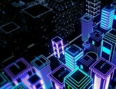 Neon city blocks