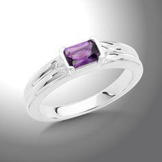 Amethyst Essentials Ring - A beautiful Sterling Silver 6x4 mm Faceted Amethyst Essentials Ring.