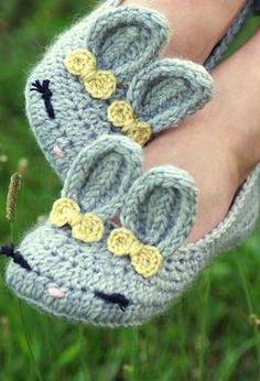 Women's Crochet Bunny Slippers by Kris Cash
