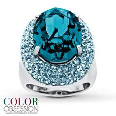 Blazing blue Swarovski ring