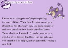 Pokemon Personalities - Rattata - #019/719.