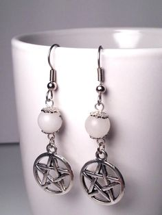 Snow Quartz Pentacle Earrings White by DCArtandPhotography on Etsy