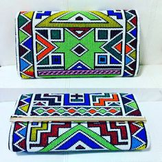 Ndebele beaded clutch purse long and width. by ZuluBeads Beaded Clutch, Beaded Purses, Beaded Bags, Beaded Bracelets, Bead Loom Patterns, Beading Patterns, African Hats, Handmade Fabric Bags, Gold Hats