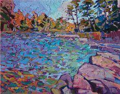 Landscape oil painting of Eagle Lake in Acadia National Park by contemporary artist Erin Hanson Abstract Landscape Painting, Landscape Art, Landscape Paintings, Abstract Art, Art Aquarelle, Art Watercolor, L'art Du Portrait, Portraits, Pintura Graffiti