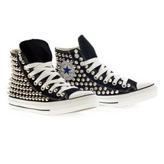 Holiday Promotion, Studded Converse, Silver Studs with converse Black... ($105) ❤ liked on Polyvore featuring shoes, sneakers, converse, zapatos, all star, converse shoes, silver sneakers, high low tops, converse sneakers and high top sneakers