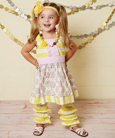 Look at this #zulilyfind! Beige Quatrefoil Angel-Sleeve Dress - Toddler & Girls by Oopsie Daisy #zulilyfinds