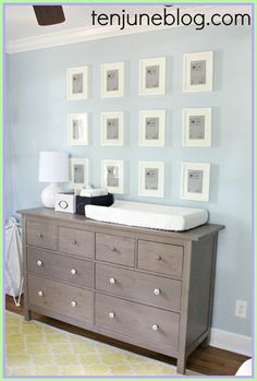 Ten June: Nursery Update: Ikea Dresser Turned Changing Table Station & Land of Nod Gumball Lamps. Love this color scheme for baby room! Baby Dresser, Ikea Dresser, Dresser Ideas, Ikea Baby Room, Baby Bedroom, Ikea Nursery Furniture, Diy Furniture, Changing Table Dresser, Bedroom Door Design