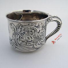 Shaving Mug Acid Etched Griffin Elephant Trunk Handle Gorham Sterling Silver 1900