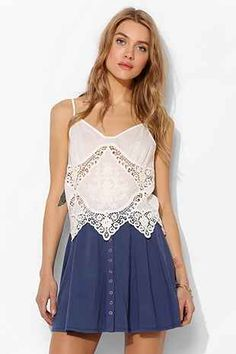Pins And Needles Crochet-Inset Embroidered Cami - Urban Outfitters