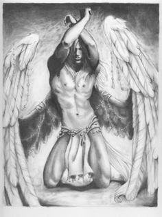 Great drawing of a male angel.
