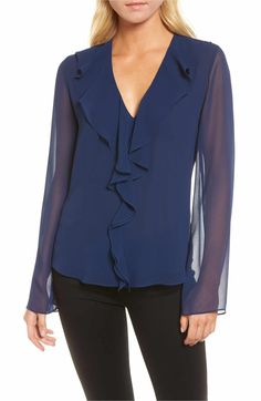Trouvé Ruffle V-Neck Blouse - $69 | Spring 2018 fashion trends for women over 50 | fashion over 50 | clothes for women over 50 | clothes for women over 60 | #over50fashion2018