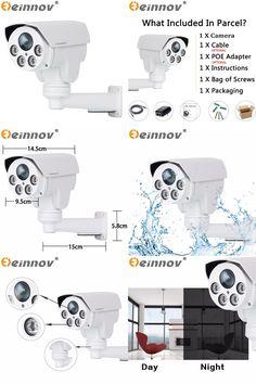 [Visit to Buy] EINNOV POE PTZ CCTV IP Camera Outdoor Waterproof Security Surveillance Camera SD Card Slot Onvif SONY IMX322 1080P Optical Zoom #Advertisement