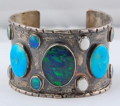 VINTAGE OLD PAWN NAVAJO STERLING TURQUOISE BLACK OPAL LARGE BANGLE CUFF BRACLET