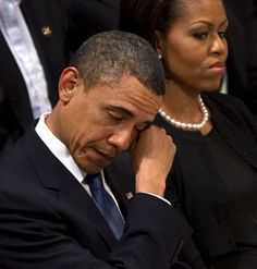 President and First Lady Obama at funeral of Sandy Hook Elementary victim 2012.