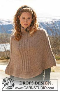 """DROPS 114-32 - Knitted DROPS Poncho with rib in """"Classic Alpaca"""". Size S - XXXL - Free pattern by DROPS Design"""