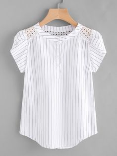 SHEIN offers Eyelet Embroidered Panel Petal Sleeve Pinstriped Blouse & more to fit your fashionable needs. Sewing Blouses, Petal Sleeve, Diy Mode, Mode Top, Outfit Trends, Collar Styles, Blouse Online, Plus Size Blouses, Look Chic