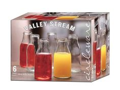 Tesco direct: Circleware Valley Stream 16oz Glass Milk Bottles, Set of 6