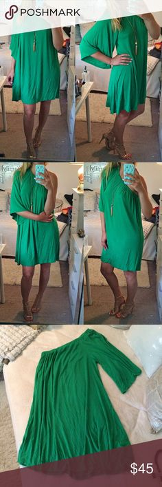 """Green one shoulder dress!  One of a kind, super soft! In great condition except for a small stain in the lower back which is pretty much invisible when worn. I'm 5.7"""". Says XS but better for S or M. Even L will fit. Great for day or night time outings! Best color shows pic #1,2. Hourglass Lilly Dresses"""