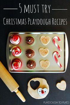 5 Must Try Christmas Playdough Recipes!! Super squishy every time. Sugar cookie dough, egg nog, orange clove, chocolate, and candy cane.