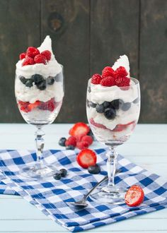 These Berry Angel Food Cake Parfaits are a ridiculously easy and fun treat for Fourth of July!