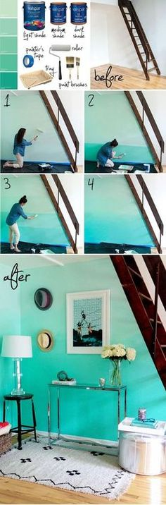 Ombre painted wall (cool idea for Suzy's room)