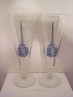 Set of 2 Vintage Glass Scranton Times/WEJL Building Beer Glasses, Scranton, PA #Scranton