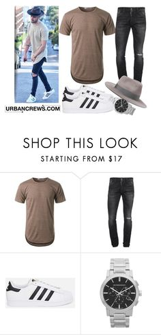 """""""URBANCREWS Mens Elong Round Hemline Crewneck T-Shirt"""" by urbancleo ❤ liked on Polyvore featuring Dsquared2, adidas Originals and Burberry"""