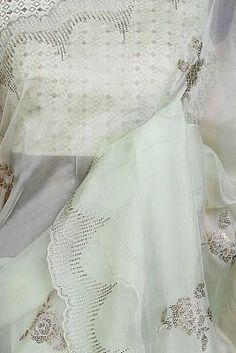 Organza Saree, Indian Sarees, Sarees Online, Lace, Green, Stuff To Buy, Fashion, Indian Saris, Moda