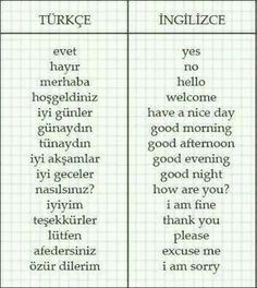Let's learn basic Turkish words☺ Which words do you know? Share with me! Learning Languages Tips, Foreign Languages, Learning Arabic, Learning Italian, Vocabulary Journal, Turkish Lessons, Learn Turkish Language, English Words, Some Words