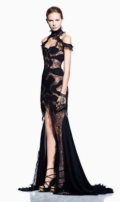 black lace gowns | Alexander McQueen Spring 2012 RTW Black Lace Gown - Celebrities who ...