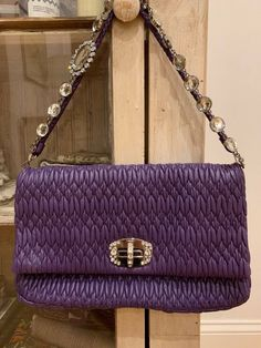 8eee2951c352 Miu Miu Matelasse Napa Leather Purple Handbag with Swarovski crystal chain Miu  Miu Matelasse