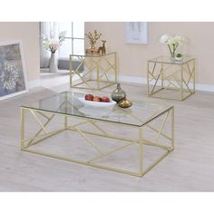 Furniture of America Enderin Contemporary Metal/Tempered Glass Accent Table Set (Champagne (Beige)) Glass Table Set, Glass End Tables, 3 Piece Coffee Table Set, Glass Top Coffee Table, Coffee Tables, Contemporary Family Rooms, Modern Contemporary, Square Side Table, Side Tables