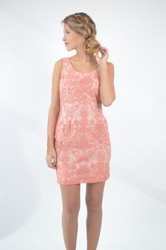 Coral Brocarde Lace Dress | Foi Clothing | New Arrival | Classy and Trendy Dress | Flattering Fit and Length | Spring Fashion | Great for Any Occasion | Buy Now on foiclothing.com | Things We Love