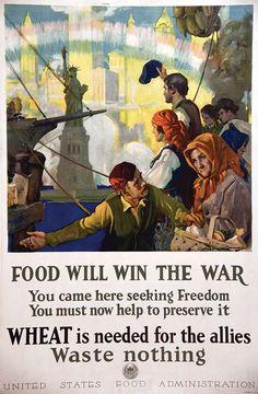 CHAMBERS CHARLES E. Food will win the war Statue de la Liberté Rare#poster#affiche