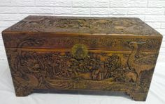 Vintage antique large Japanese camphor wood trunk chest carved dragon Chinese