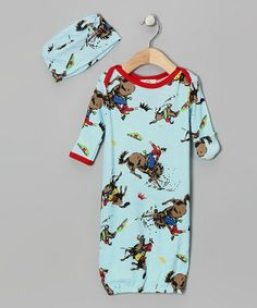 Take a look at this Aqua Classic Cowboy Gown & Beanie by Mad Boy on #zulily today!